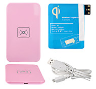 Pink Wireless Power Pad Cargador + Cable USB + receptor Paster (azul) para Samsung Galaxy Nota 3 N9000