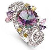 moda argento 925 anello in rame placcato arcobaleno zircone