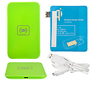 Green Wireless Power Charger Pad + USB Cable + Receiver Paster(Blue) for Samsung Galaxy S3 I9300