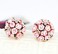 Flower Korea-Style Alloy Drop Earring(1 Pair)(White,Pink,Blue)