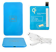 Blue Wireless Power Charger Pad + USB Cable + Receiver Paster(Blue) for Samsung Galaxy S4 I9500