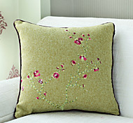 "18""Square China Flower Embroidery Polyester Decorative Pillow With Insert"
