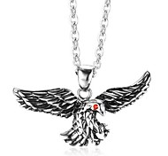 "Fashion 316L Stainless Steel Red Eye Black Eagle Pendant w/ O Chain Necklace (20"")"