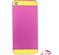 Fuchsia Metal Alloy Back Battery Housing with Button and Yellow Glass For iPhone 5