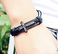 Fashion Kreuz 21cm Herren Schwarz Alloy Lederarmband (1 PC)