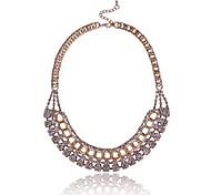 (1 Pc)European (Super Flash Diamond Fashion Female with Chain) Golden Alloy Chain Necklace(Golden Gun Black)