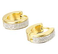 presente para namorado forma glitter titânio brincos de ouro de aço (1 par)