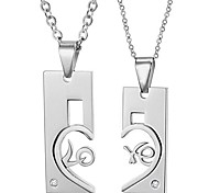 Fashion Heart Love Stainless Steel Couple's Necklace(2 PCS)