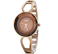 Women's Simple Round Dial Hollow Engraving Steel Band Quartz Analog Wrist Watch (Assorted Colors)