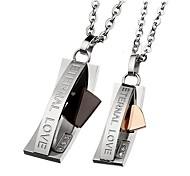 Le collier de la mode l'amour éternel acier inoxydable couple (2 pcs)