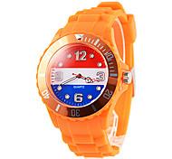 Drapeau Pays-Bas Motif Homme orange de bande de silicone montre bracelet à quartz cadeau Coupe Football