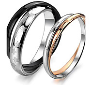 Classic Lovers Stainless Steel Double Ring of Stars Couple Rings (2 Pcs)