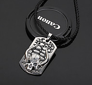 Z&X®  Gothic Horn (Skull) Black Leather Pendant Necklace (1 Pc)