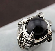 Z&X®  European Silver Alloy Dragon's Claw Men's  Black Agate Statement Rings(1 Pc)