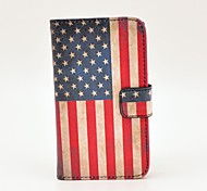 Retro US Flag Pattern PU Leather Hard Case with Magnetic Snap and Card Slot for Nokia Lumia N520