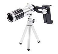 Max 12X Manual Zoom Telephoto Lens with Tripod for Cellphone