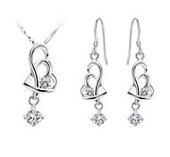 cuore in argento placcato (collane&orecchini) set di gioielli da sposa