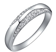 Fashionable Sliver With Cubic Zirconia Band Women's Ring(1 Pc)