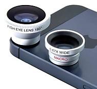 Magnética 3 en 1 lente Gran Angular / lens/180 Macro Lente Ojo de Pez / Kit Set para iPhone 5/4 / 4S / iPod / iPad