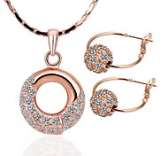 High Class Runde Zinn-Legierung Rose Gold-Schmuck-Set