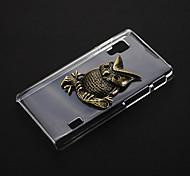 Metal Owl Pattern Transparent Plastic Hard Back Case Cover for LG Optimus L5 II