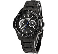Men's Sporty Round Dial Tungsten Steel Band Quartz Analog Wrist Watch Cool Watch Unique Watch