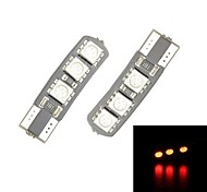 Merdia 3.5W 60LM T10 6-SMD 5050 LED rojo para la matrícula de Canbus Decoded coche de la lámpara / lámpara de lectura (Par / 12 V)