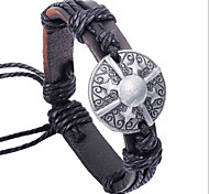 Z&X®  Vintage Shield 24cm Men's Assorted Color Leather&Alloy Leather Bracelet(black,coffee)(1 Pc)