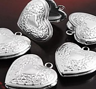 Silver Plated Flower Heart Locket Charm Pendant