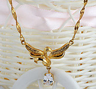 European (Swan Drop) Gold Gold-Plated With Clear Rhinestone Pendant Necklace (1 Pc)