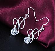 Gift For Girlfriend European Clip Shape Drop Silver Plated Rhinestone Drop Earrings (1 Pair)