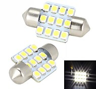 Merdia Festoon 31mm 12x3528SMD LED White Light for Car Steering Light Bulb - (2 PCS / 12V)