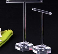 2 Clear Organic Glass Earrings Jewelry Display T-Bar Stand Holder