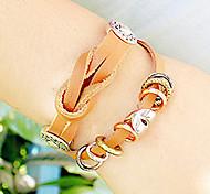 European String Of Beads 21cm Unisex Orange Alloy Leather Bracelet(1 Pc)