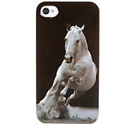 Impetuous White Steed Pattern ABS Back Case for iPhone 4/4S