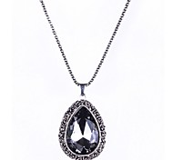 1PC Vintage Drop Glass Pendant Necklace