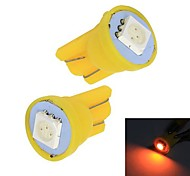 Merdia 0.5W 50LM T10 1x5050SMD LED Yellow Light Car Instrument / Brake Lamp Bulbs(Pair /12V)