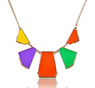 1 Pc)European (Geometry Necklace) Golden Alloy Statement Necklace(Purple Orange Green, Black White,Blue White)