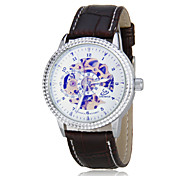 Men's Auto-Mechanical Skeleton Leather Band Wrist Watch (Assorted Colors)