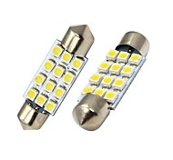 Festoon Car White SMD 3528 5000-5500 Instrument Light Reading Light License Plate Light Turn Signal Light Brake Light Reversing lamp
