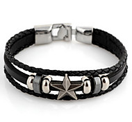 Fashion Star 22cm Unisex Black Leather With Silver Alloy Leather Bracelet(1 Pc)