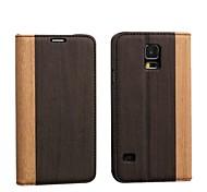 Holz-Muster PU-Leder-Smart-Card Sets Fall mit Schlaf für S5/i9600