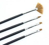 4PCS Nail Art Carving Pen Brush Black Handle