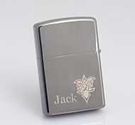 Personalized Engraved Flower Pattern Gray Oil Lighter