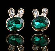 Sweet Rabbit Shaped Green Oval Gem With Gold Alloy Stud Earrings (1 Pair)