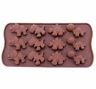 "Silicone Dinosaur Style 12-Cup Mold, W8.4"" x L4.4"" x H0.6"""