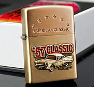 Personalized Father's Day Gift Engraved Car Pattern Gold Oil Lighter