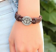 Vintage  24cm Men's Brown Leather  Bracelet (1 Pc)