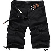 Men's Solid Casual Shorts / Sweatpants,Cotton Black