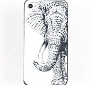 Black and White Elephant Hard Glue Edge Grinding Case for iPhone 4/4S